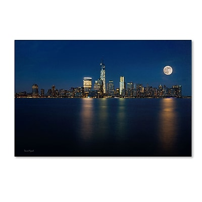 "Trademark David Ayash ""Supermoon Rise Over Downtown - NYC"" Gallery-Wrapped Canvas Art, 16"" x 24"""