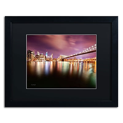 "Trademark David Ayash ""Brooklyn Bridge Park and... - IV"" Art, Black Matte W/Black Frame, 16"" x 20"""