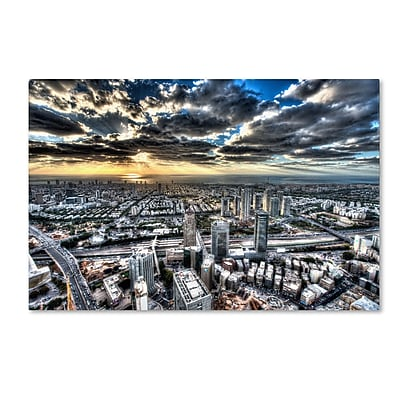 "Trademark David Ayash ""Tel Aviv - Israel-I"" Gallery-Wrapped Canvas Art, 16"" x 24"""
