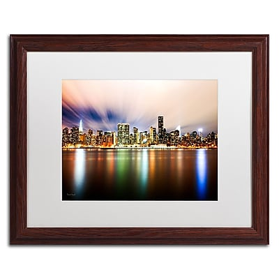 """Trademark David Ayash """"Midtown Over the East River-IV"""" Art, White Matte With Wood Frame, 16"""" x 20"""""""