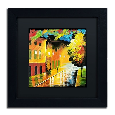 "Trademark Ricardo Tapia ""Street Light"" Canvas Art, Black Matte With Black Frame, 11"" x 11"""