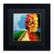 "Trademark Ricardo Tapia ""Walk in the Park"" Canvas Art, Black Matte W/Black Frame, 11"" x 11"""