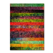 """Trademark Michelle Calkins """"Brocade and Fifteen Stripes 1"""" Gallery-Wrapped Canvas Art, 24"""" x 32"""""""