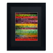 "Trademark Michelle Calkins ""Brocade and Stripes 2"" Art, Black Matte With Black Frame, 11"" x 14"""