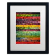 """Trademark Michelle Calkins """"Brocade and Stripes 2"""" Art, White Matte With Black Frame, 16"""" x 20"""""""