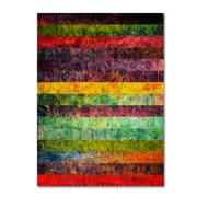 """Trademark Michelle Calkins """"Brocade and Fifteen Stripes 2"""" Gallery-Wrapped Canvas Art, 14"""" x 19"""""""