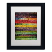 """Trademark Michelle Calkins """"Brocade and Stripes 3"""" Art, White Matte With Black Frame, 11"""" x 14"""""""