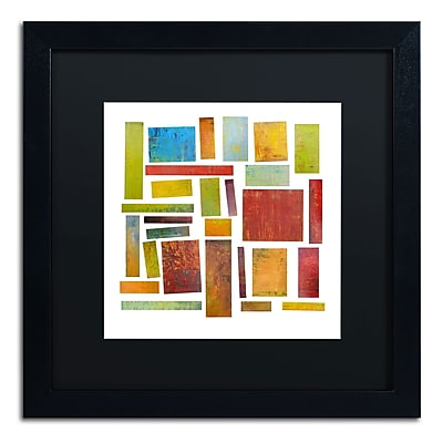 "Trademark Michelle Calkins ""Building Blocks One"" Art, Black Matte With Black Frame, 16"" x 16"""