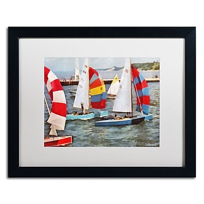 "Trademark Michelle Calkins ""After the Regatta"" Art, White Matte With Black Frame, 16"" x 20"""