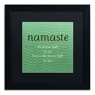 "Trademark Michelle Calkins ""Namaste with Blue Waves"" Art, Black Matte With Black Frame, 16"" x 16"""
