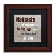 "Trademark Michelle Calkins ""Namaste with Pebble..."" Art, Black Matte With Wood Frame, 11"" x 11"""