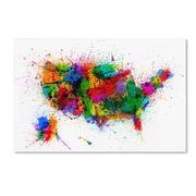"Trademark Michael Tompsett ""US Paint Splashes"" Gallery-Wrapped Canvas Art, 16"" x 24"""