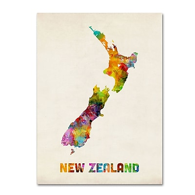 "Trademark Michael Tompsett ""New Zealand Watercolor Map"" Gallery-Wrapped Canvas Art, 35"" x 47"""