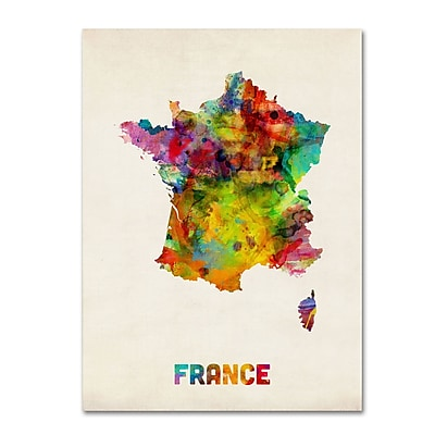 "Trademark Michael Tompsett ""France Watercolor Map"" Gallery-Wrapped Canvas Art, 18"" x 24"""
