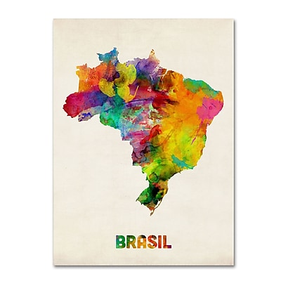 "Trademark Michael Tompsett ""Brasil Watercolor Map"" Gallery-Wrapped Canvas Art, 18"" x 24"""