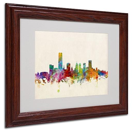 trademark michael tompsett oklahoma city skyline art white matte w wood frame 11 x 14. Black Bedroom Furniture Sets. Home Design Ideas