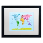 "Trademark Michael Tompsett ""World Map for Kids"" Art, White Matte W/Black Frame, 16"" x 20"""