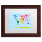 "Trademark Michael Tompsett ""World Map for Kids"" Art, White Matte W/Wood Frame, 11"" x 14"""