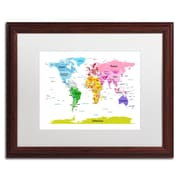 "Trademark Michael Tompsett ""World Map for Kids II"" Art, White Matte W/Wood Frame, 16"" x 20"""