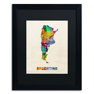 "Trademark Michael Tompsett ""Argentina Watercolor Map"" Art, Black Matte W/Black Frame, 16"" x 20"""