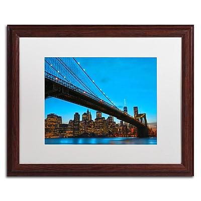 "Trademark CATeyes ""Brooklyn Bridge 1"" Art, White Matte W/Wood Frame, 16"" x 20"""