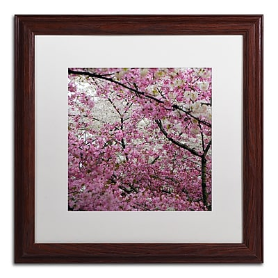 "Trademark CATeyes ""Cherry Blossoms 2014-3"" Art, White Matte W/Wood Frame, 16"" x 16"""