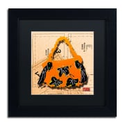 "Trademark Roderick Stevens Black Matte With Black Frame ""Bow Purse Black on Orange"" Arts"