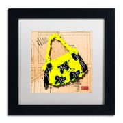 "Trademark Roderick Stevens ""Bow Purse Black on Yellow"" Art, White Matte With Black Frame, 11"" x 11"""