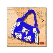 """Trademark Roderick Stevens """"Bow Purse White on Blue"""" Gallery-Wrapped Canvas Arts"""