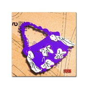 """Trademark Roderick Stevens """"Bow Purse White on Purple"""" Gallery-Wrapped Canvas Arts"""