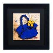 "Trademark Roderick Stevens ""Flower Purse Yellow on Blue"" Art, Black Matte W/Black Frame, 11"" x 11"""