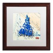 """Trademark Roderick Stevens """"Shoulder Dress Blue n White"""" Art, White Matte W/Wood Frame, 16"""" x 16"""""""