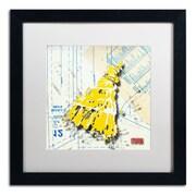 """Trademark Roderick Stevens """"Shoulder Dress Yellow n White"""" Art, White Matte W/Black Frame, 16"""" x 16"""""""