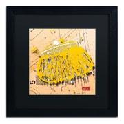 "Trademark Roderick Stevens ""Snap Purse Yellow"" Art, Black Matte With Black Frame, 16"" x 16"""