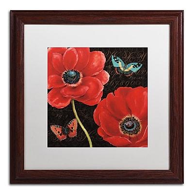 "Trademark Daphne Brissonnet ""Petals and Wings II"" Art, White Matte W/Wood Frame, 16"" x 16"""