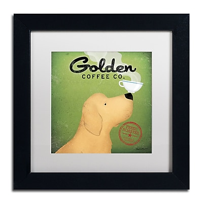 "Trademark Ryan Fowler ""Golden Coffee Co"" Art, White Matte With Black Frame, 11"" x 11"""