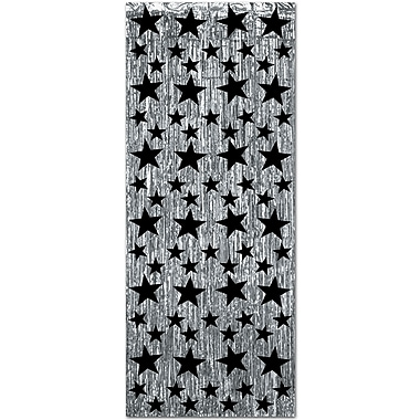 1-Ply Gleam 'N Curtain, 8' x 3', Silver With Printed Black Stars