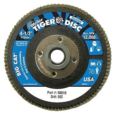 WEILER Big Cat High Density Flat Style Flap Discs, Grit 80