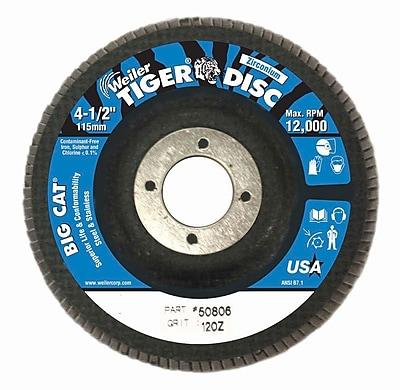 WEILER Big Cat High Density Flat Style Flap Discs, Grit 120