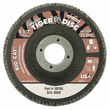 WEILER High Density Flat Style Flap Discs, 80 Grit