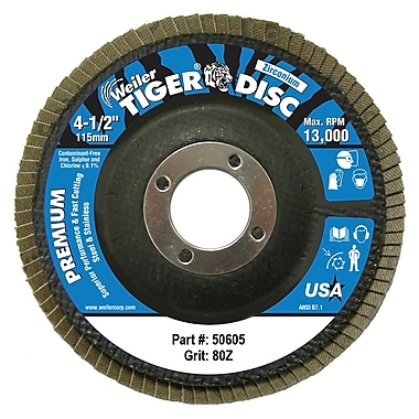 WEILER Tiger Disc Steel Angled Style Flap Discs, 4.5
