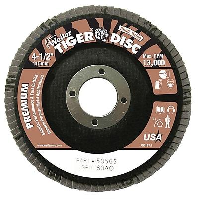 WEILER Tiger Disc Abrasive Flap Disc, Angled, Phenolic Backing, 80 Grit