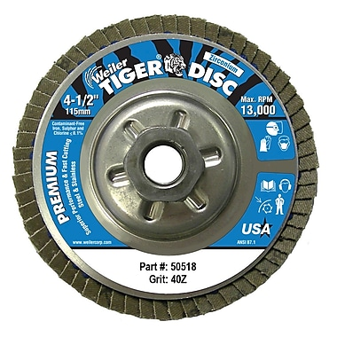 WEILER Angled Style Flap Discs, 40 Grit