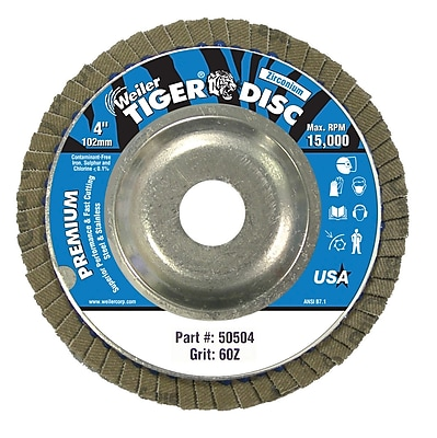 WEILER Angle-Style Flap Discs, 60 Grit
