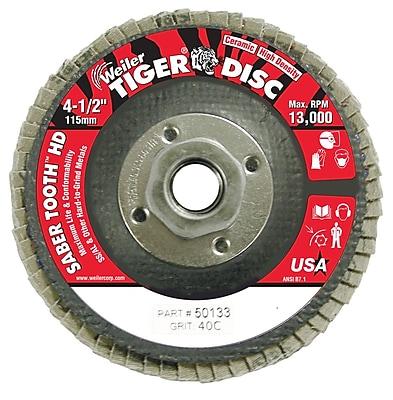 WEILER Saber Tooth High Density Abrasive Flap Disc, 40 Grit