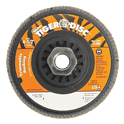 WEILER Trimmable Flap Discs, 120 Grit