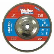 """WEILER 7"""" Vortec Pro Abrasive Flap Disc, Angled, Phenolic Back"""