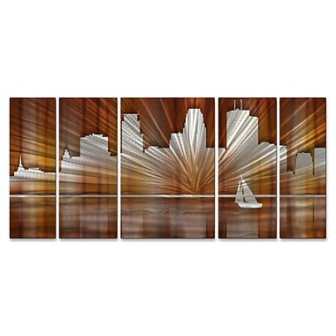 All My Walls Minneapolis Skyline by Ash Carl 5 Piece Graphic Art Plaque Set; Warm