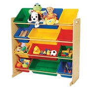 Tot Tutors 12-Bin Natural Wood Organizer, Primary Colours