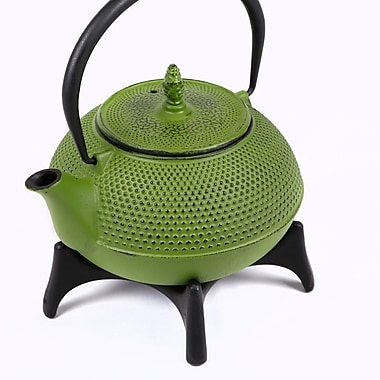 Tao Tea Leaf Large Cast Iron Tea Pot with Stand, 1.2L, Green